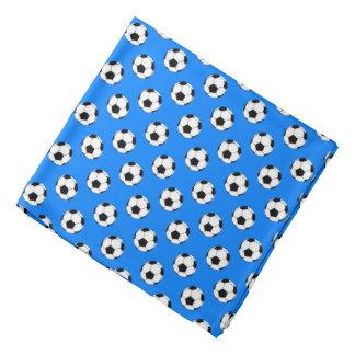 Black/White Soccer Futbol Balls, Azure Blue Bandana