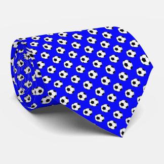Black White Soccer Fútbol Balls on Blue Tie