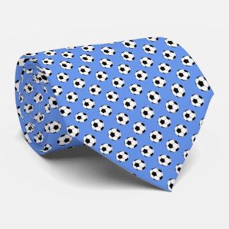 Black White Soccer Fútbol Balls on Cornflower Blue Tie