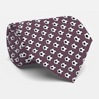 Black White Soccer Fútbol Balls on Eggplant Purple Tie