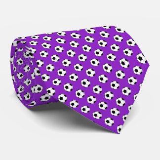 Black White Soccer Fútbol Balls on Purple Tie