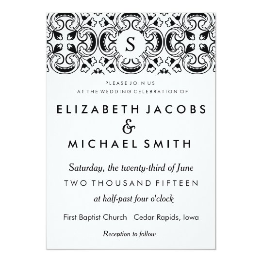 Black White Spanish Tile Wedding Invitation Zazzlecom
