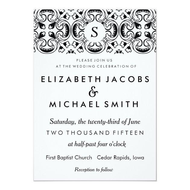 Black & White Spanish Tile Wedding Invitation | Zazzle.com