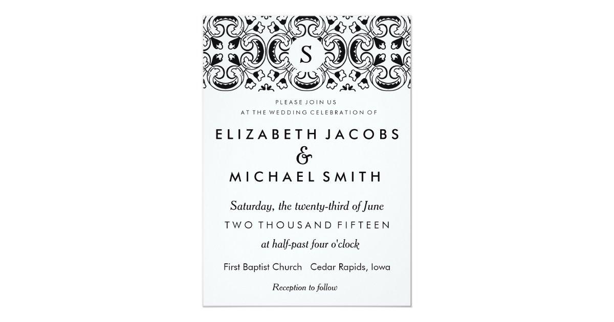 Wedding Invitation In Spanish Wording: Black & White Spanish Tile Wedding Invitation