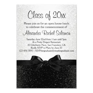 "Black/White Sparkle-look Bow Graduation Invitation 5"" X 7"" Invitation Card"
