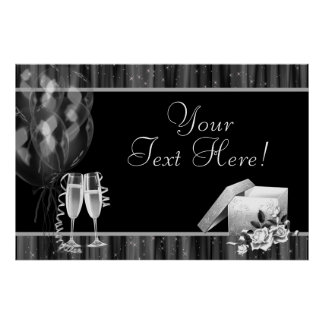 Black White Sparkles Champagne Party Banner Poster