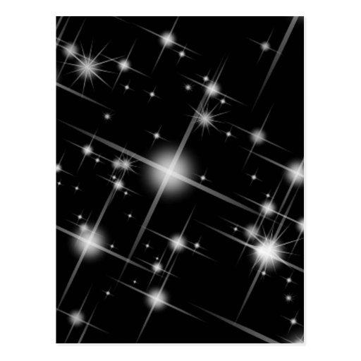 BLACK WHITE SPARKLING STARS UNIVERSE GALAXY SPACE POSTCARDS