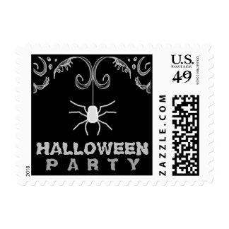 Black & White Spider Halloween Party Postage Stamp