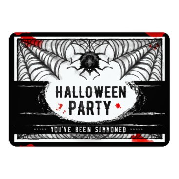 Halloween Themed Black & White Spider Web Halloween Party Invite