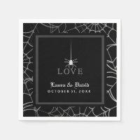 Black & White Spider Web LOVE Halloween Wedding Napkin
