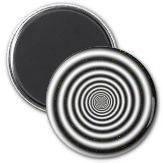 Black & White Spiral Optical Illusion 2 Inch Round Magnet
