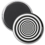 Black & White Spiral Optical Illusion Refrigerator Magnets