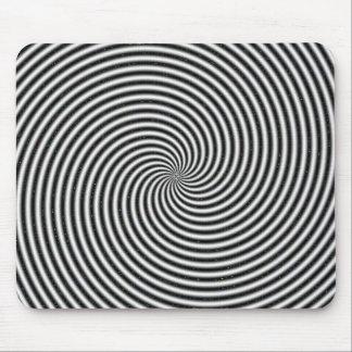 Black & White Spiral Swirl Optical Illusion Mousepad