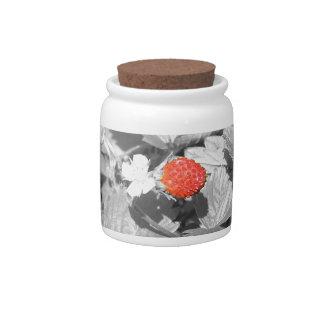 black white splash strawberry candy jar