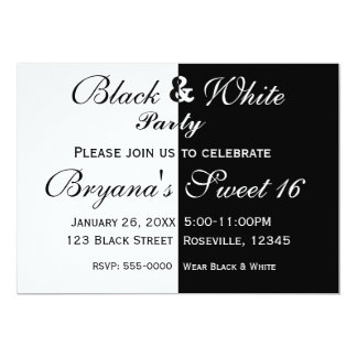 Black & White Split Half Birthday Party Invitation
