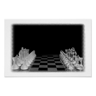 Black & White Spooky Chess Board Game Poster