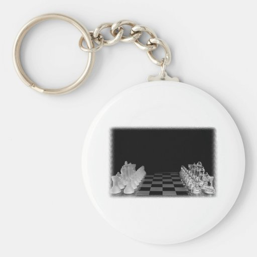 Black & White Spooky Glass Chess Board Game Basic Round Button Keychain