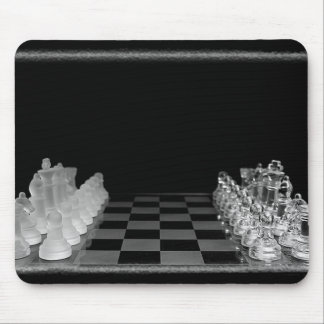 Black & White Spooky Glass Chess Board Game Mouse Pad