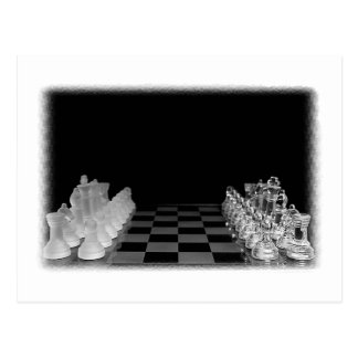 Black & White Spooky Glass Chess Board Game Postcard