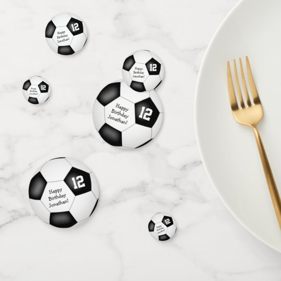 black white sports birthday party soccer ball confetti