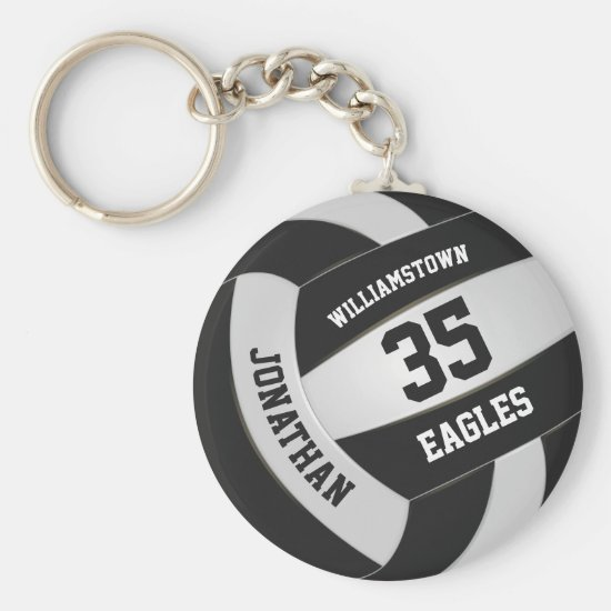 black white sports team colors volleyball keychain