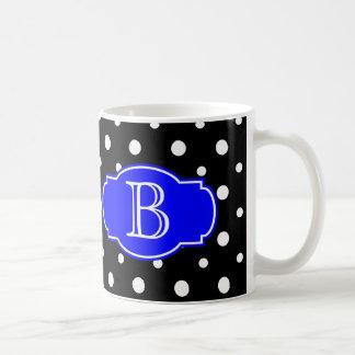 Black & White Spots w/ Blue, add your initial Coffee Mugs