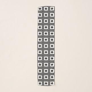 Black White Square Abstract Pattern Chiffon Scarf