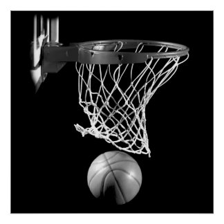 Black & White Square Basketball Ball & Net Poster