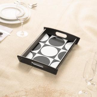 Black&White Square&Circle Decorative Design Serving Tray