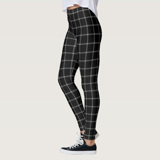 9f0c52db657130 Black White Square Grid Tartan Plaid Leggings | Zazzle.com