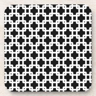 Black & White Square Pattern Coaster