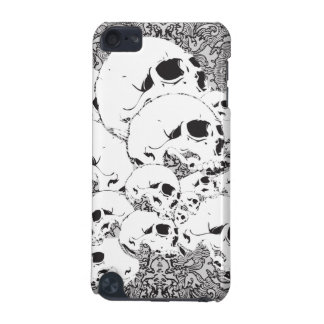 Black white stacked skulls awesome ipod touch case