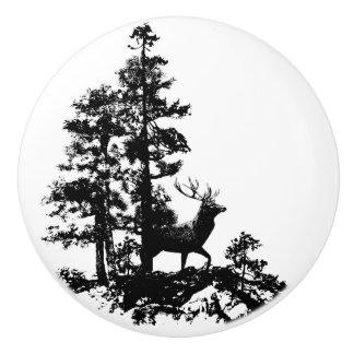 Black White Stag Deer Animal Nature silhouette Ceramic Knob