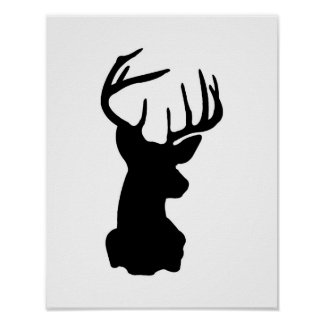 Black & White Stag Head Poster