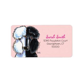 Black White Standard Poodles Large Pink Label