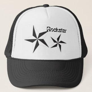 black white star, black white star, Rockstar Trucker Hat