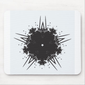black & white star kaleidoscope pattern mouse pad