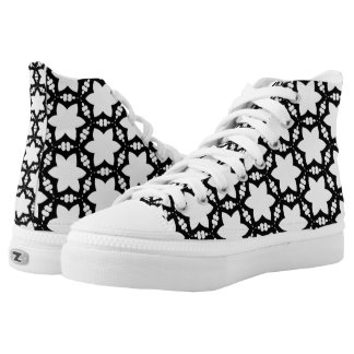 Black+White Star Lace Pattern High Top