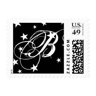 Black White Stars Special Events Monogram Postage