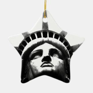 Black & White Statue of Liberty Ceramic Ornament