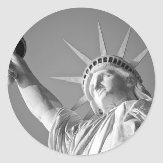 Black White Statue of Liberty Classic Round Sticker