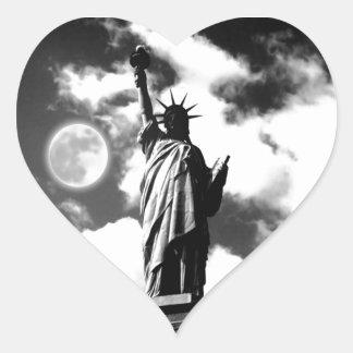 Black & White Statue of Liberty Heart Sticker
