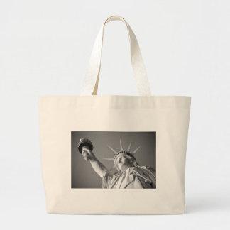 Black White Statue of Liberty Large Tote Bag