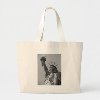 Black & White Statue of Liberty New York City Large Tote Bag