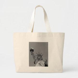 Black & White Statue of Liberty New York Jumbo Tote Bag