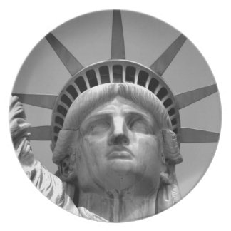 Black & White Statue of Liberty New York Plate