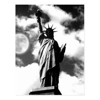 Black White Statue of Liberty New York Postcard