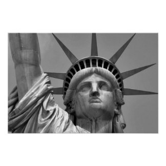 Black & White Statue of Liberty New York Poster