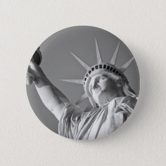 Black White Statue of Liberty Pinback Button