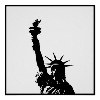 Black & White Statue of Liberty Poster